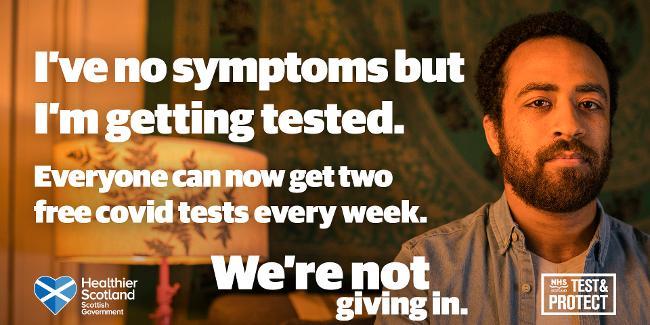 No symptoms - 2 free tests per week