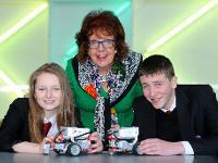 Bailie Liz Cameron with Castlemilk High pupils